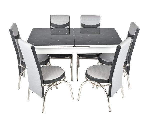 Трапезен комплект А-103 - маса с 6 стола, черно и сиво