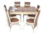 Трапезен комплект А-1080 - маса с 6 стола, кафяво и бежово със сърца