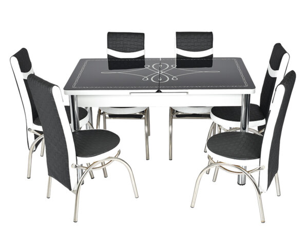Трапезен комплект А-2382 - маса с 6 стола, черно и бяло