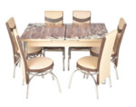 Трапезен комплект А-499 - маса с 6 стола, кафяво и бежово с цветя