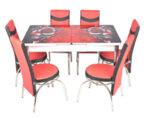 Трапезен комплект А-759 - маса с 6 стола, червено и черно с рози