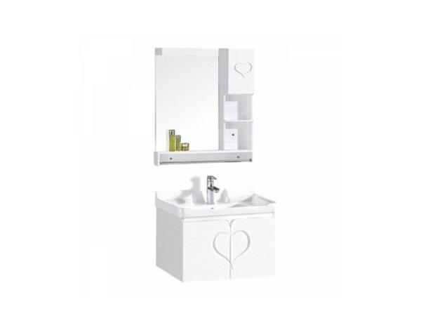 Комплект шкафче за баня с умивалник и огледало