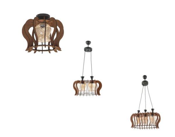 Серия осветителни тела Helin - черно/кафяво дърво, различни модели