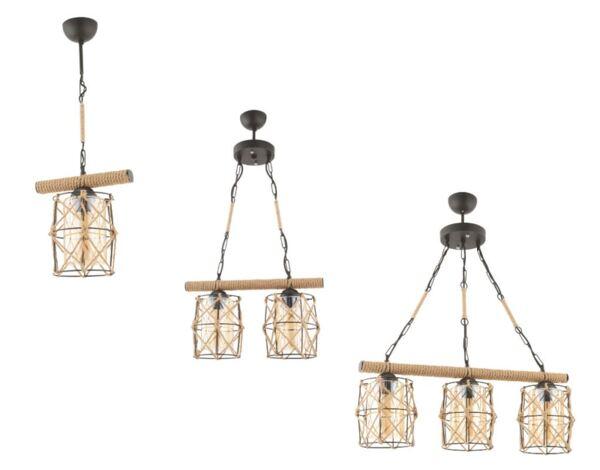 Серия осветителни тела Djuna - черен/въже, различни модели