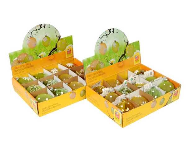 Стъклено яйце за закачане - жълто или зелено