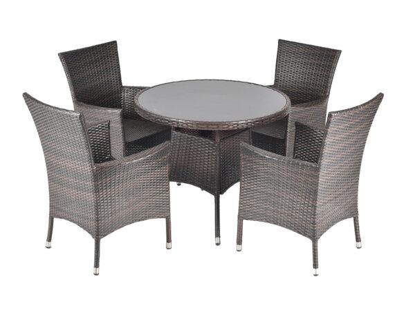 Градински комплект, черен - маса с 4 стола