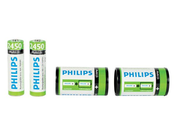 Презареждаеми батерии с адаптери - 1.2 V/AA/2450mAh, 2 бр.