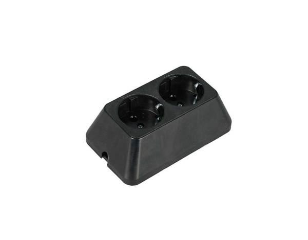 Разклонител с 2 гнезда - черен, без кабел