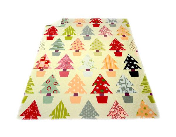 Поларено одеяло - коледна гора, 130 x 170 cm