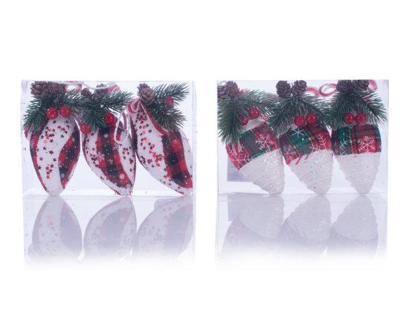 Коледни играчки в кутия - 3 бр. шишарки, 12 cm