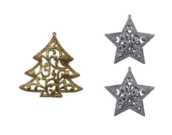 Коледна декорация - елха/звезди, 12 cm