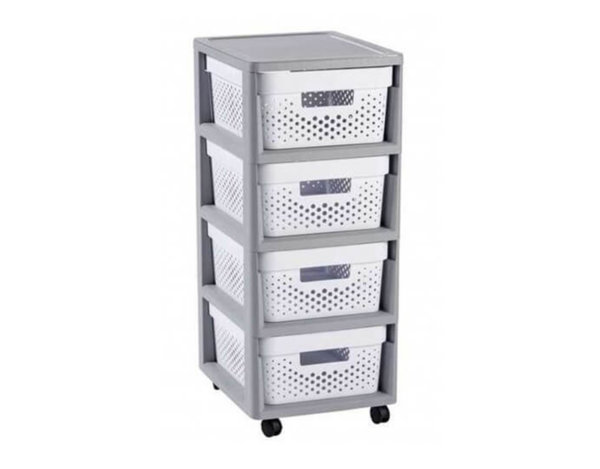 Пластмасов шкаф Infinity - бял/сив, 30 x 69 x 36 cm