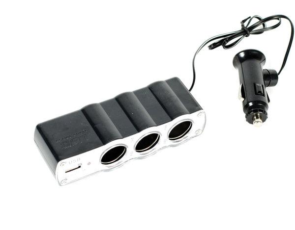 Троен разклонител с USB - 12 V