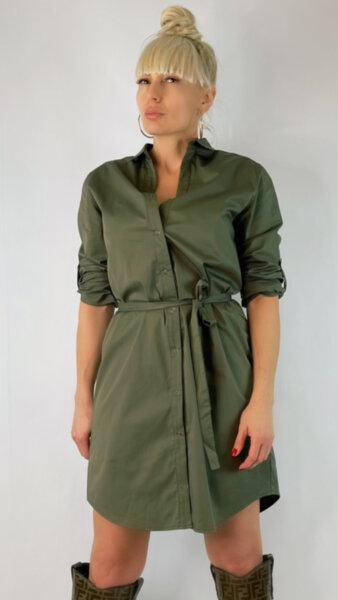 Дамска зелена рокля тип риза RO409ZE