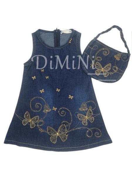 Дънкова рокля с пеперуди и чанта