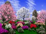 Диамантен гоблен Цветна градина - 30х40, квадратни мъниста