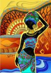 Диамантен гоблен Африканска жена - 30х40, кръгли мъниста