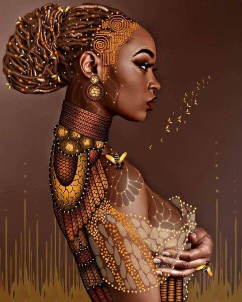 Диамантен гоблен Африканска богиня - 40х50, кръгли мъниста