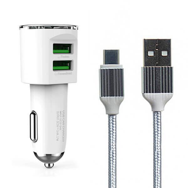 Мощно бързо зарядно за кола LDNIO DL-C293.4A с 2 USB слота и USB Type C кабел