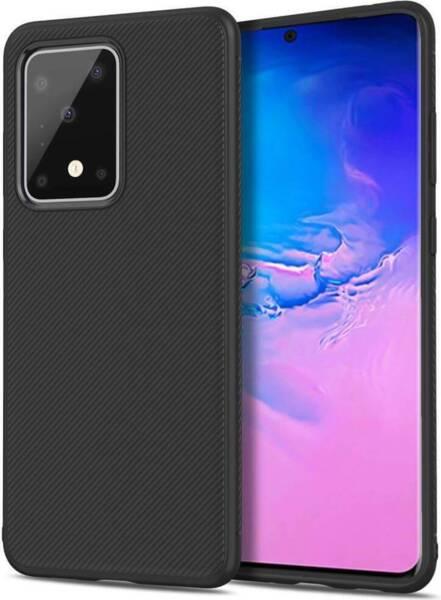 Черен Силиконов Калъф / Кейс за Samsung Galaxy S20 Ultra Twill Case