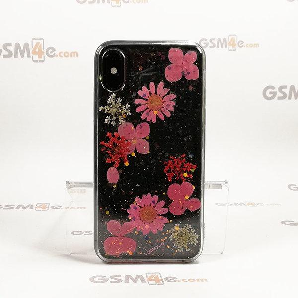 Луксозен силиконов кейс / гръб/ калъф Vennus Real Flowers за iPhone X