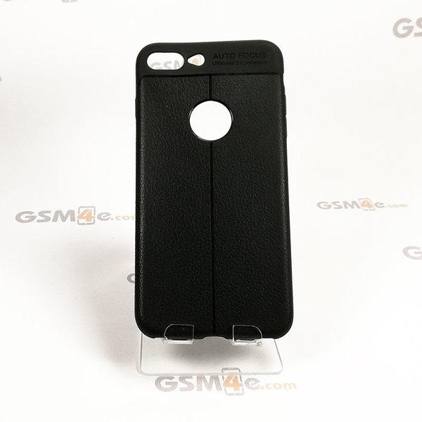 Iphone 8 Plus - Удароустойчив силиконов гръб / кейс с изглед на кожа и борд на отвора на камерата