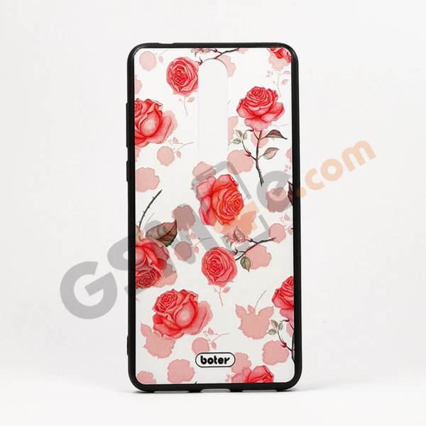 Луксозен калъф/кейс с3DпечатзаNokia 3.1 Plus рози