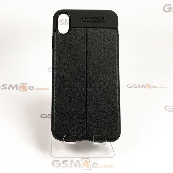 Iphone XS Max - Удароустойчив силиконов гръб / кейс с изглед на кожа и борд на отвора на камерата