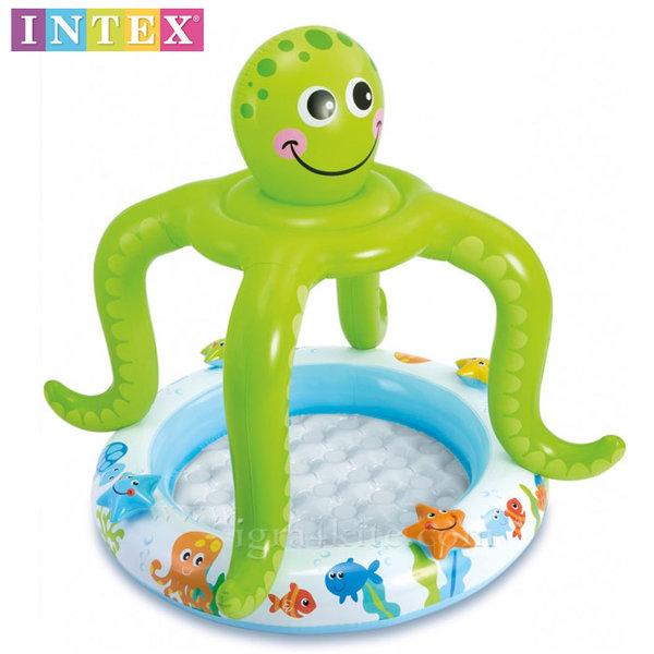 Intex - Детски басейн с надуваемо дъно и сенник Октопод 57115