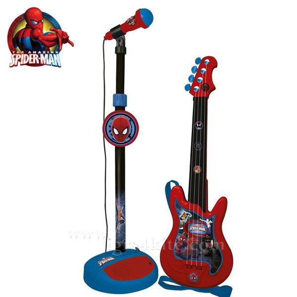 Spiderman - Детски комплект китара с микрофон Спайдърмен 552