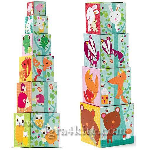 Djeco - Дървени кубчета Forest Blocks 08507