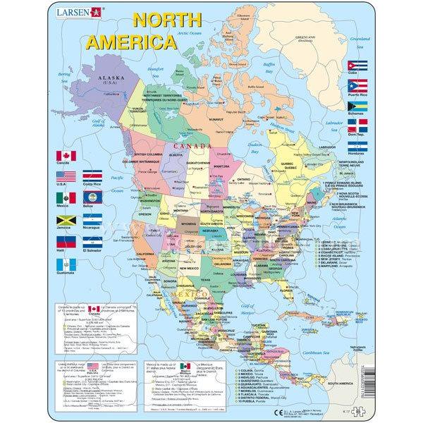 Larsen Obrazovatelen Pzel Karta Na Severna Amerika Detski