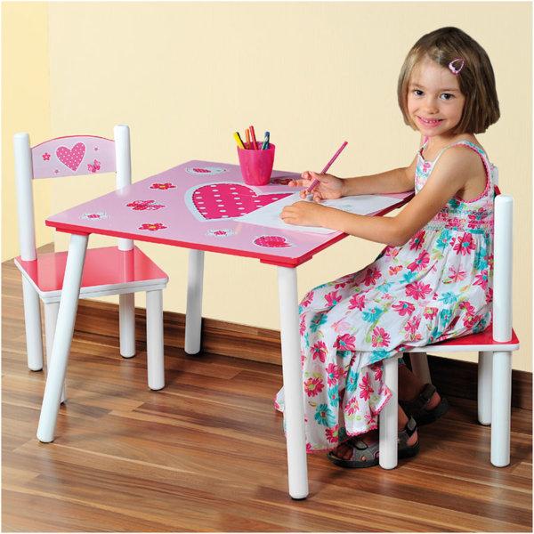 Kesper - Детска дървена маса със столчета Hearts 111172