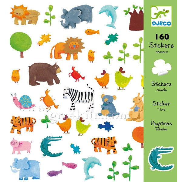 Djeco - Стикери Animals 160 броя 08841
