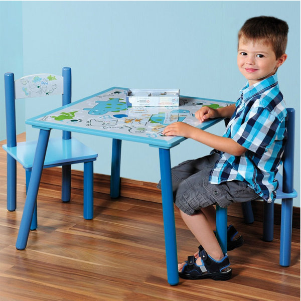 Kesper - Детска дървена маса със столчета Dino 121272