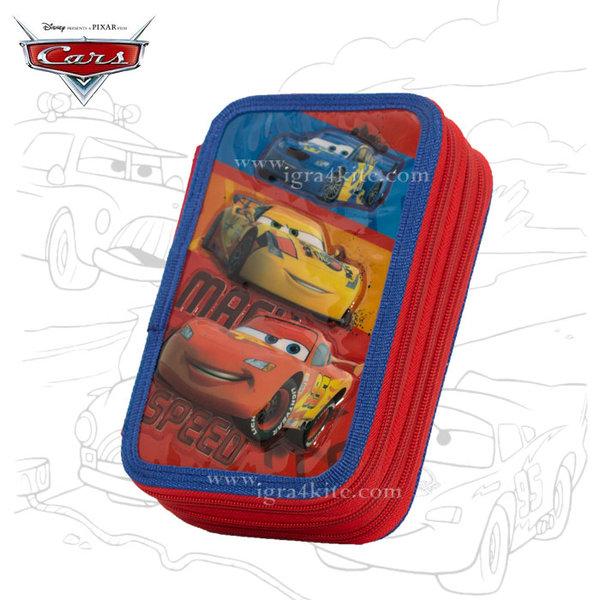 Disney Cars - Ученически несесер троен, зареден Колите 1017