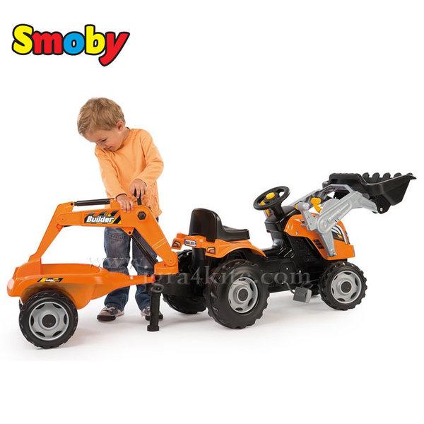 Smoby - Детски трактор с две лопати и ремарке Builder Max 710110