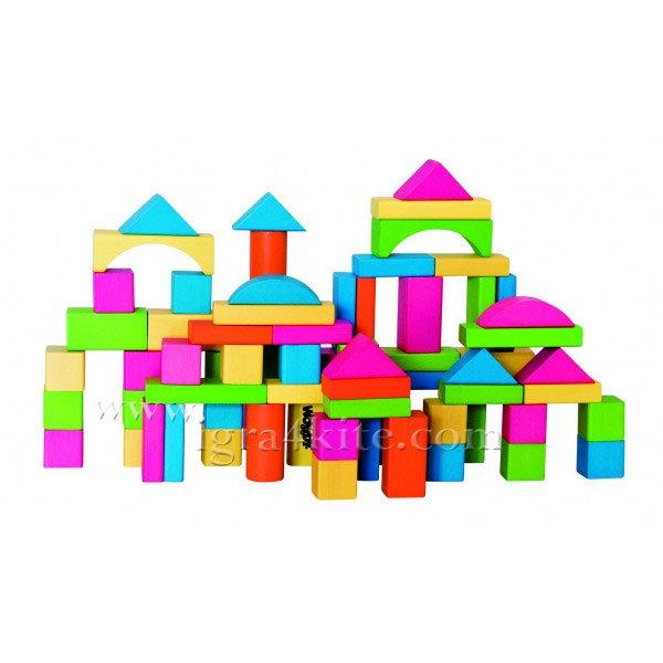 Woody - Дървен цветен конструктор 75 части 90908