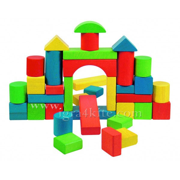 Woody - Дървен цветен конструктор МАКСИ 36 части 90195