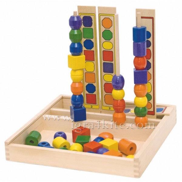 Woody - Низанка-Логическа игра Форми и цветове 90469