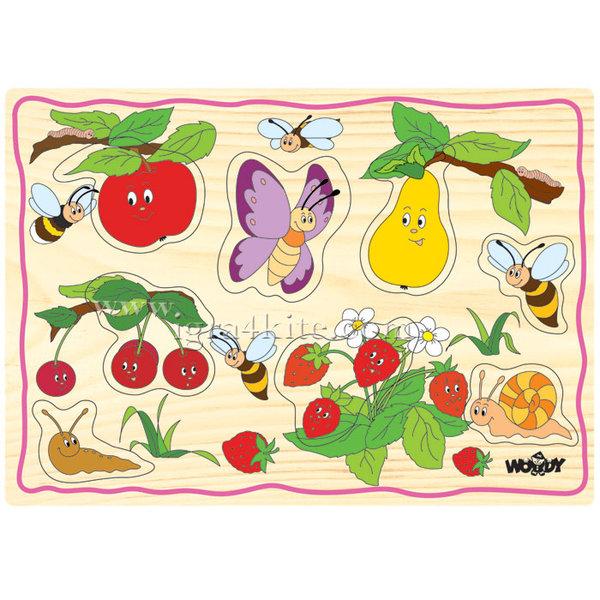Woody - Детски дървен пъзел Плодове 90252