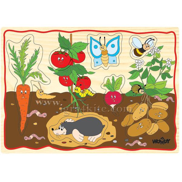 Woody - Детски дървен пъзел Зеленчуци 90252