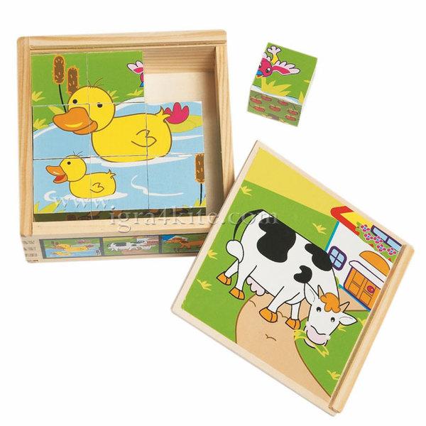 Woody - Дървени кубчета Животни 90040