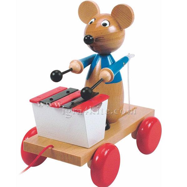 Woody - Играчка за дърпане Мишка с ксилофон 90197