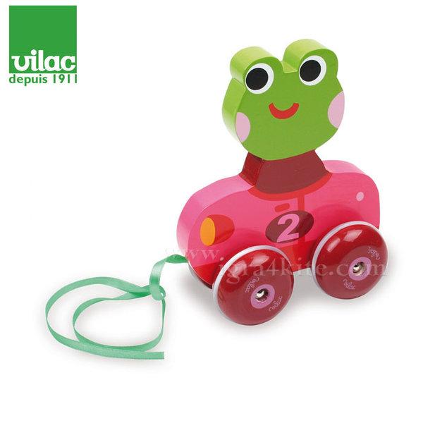 Vilac - Дървена играчка за дърпане Жабка 4618