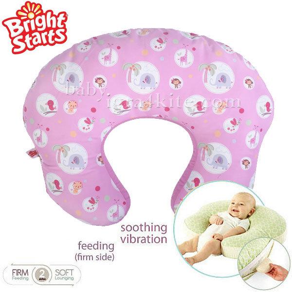 Bright Starts - Възглавница за кърмене с вибрации Mombo Pink Safari 7089