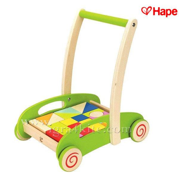 Hape - Дървена играчка за прохождане и строител 2 в 1 H0371