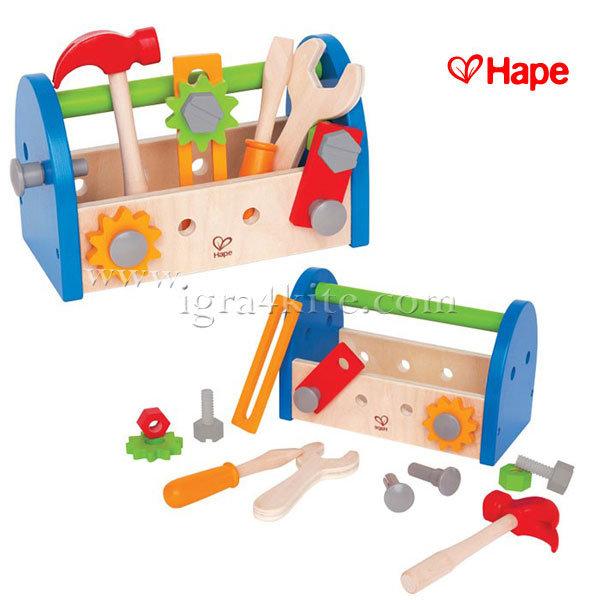 Hape - Комплект дървени инструменти в сандъче H3001