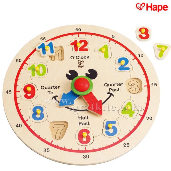 Hape - Дървен детски часовник H1600