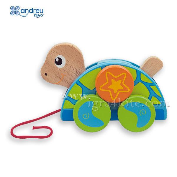 Andreu Toys - Дървена играчка за дърпане Костенурка 16358